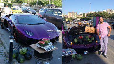 Photo of مواطن عربي يستخدم سيارته اللامبورغيني في بيع البطيخ بشوارع إسطنبول (فيديو وصور)